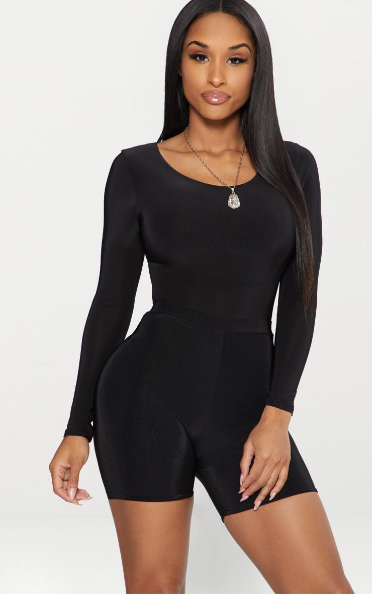 Black Second Skin Long Sleeve Thong Bodysuit