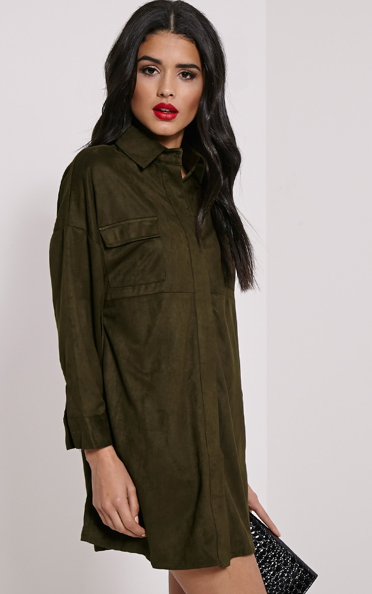 Primula Khaki Faux Suede Shirt Dress 4