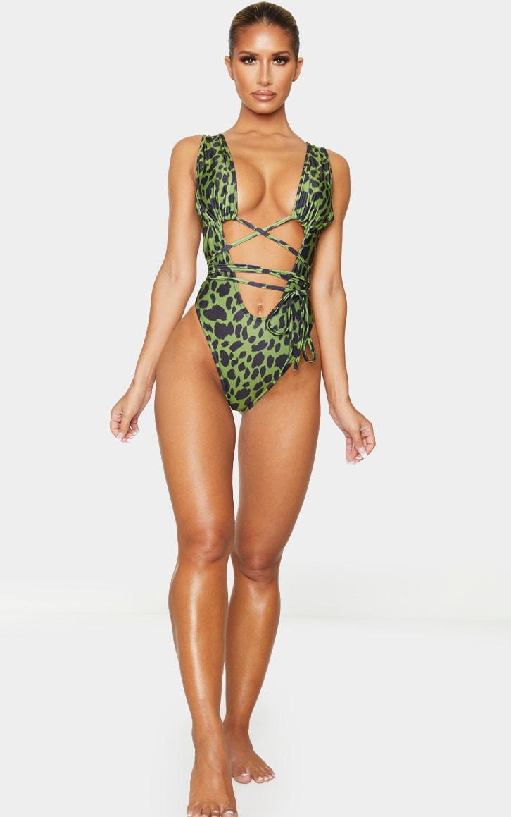 Green Cheetah Cut Out Wrap Around Swimsuit 3