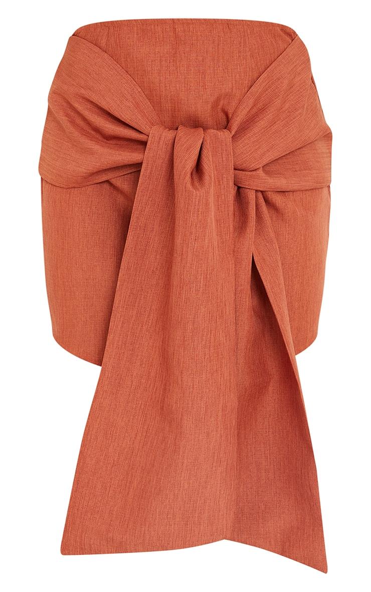 Petite Burnt Orange Wrap Over Bodycon Skirt 5