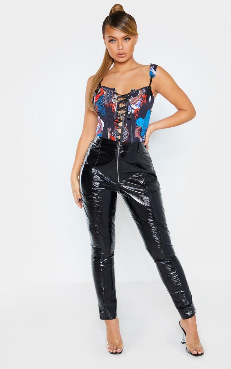 Crop top en maille noire imprimé asiatique style corset à lacets 4