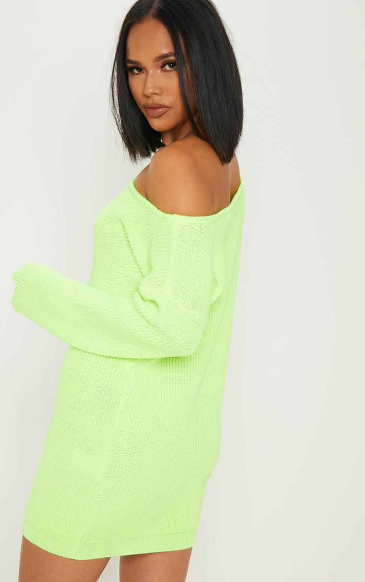 Neon Lime Off The Shoulder Jumper Dress 2