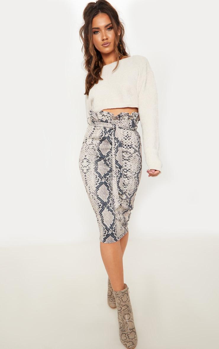 Snake Print Paperbag Midi Skirt