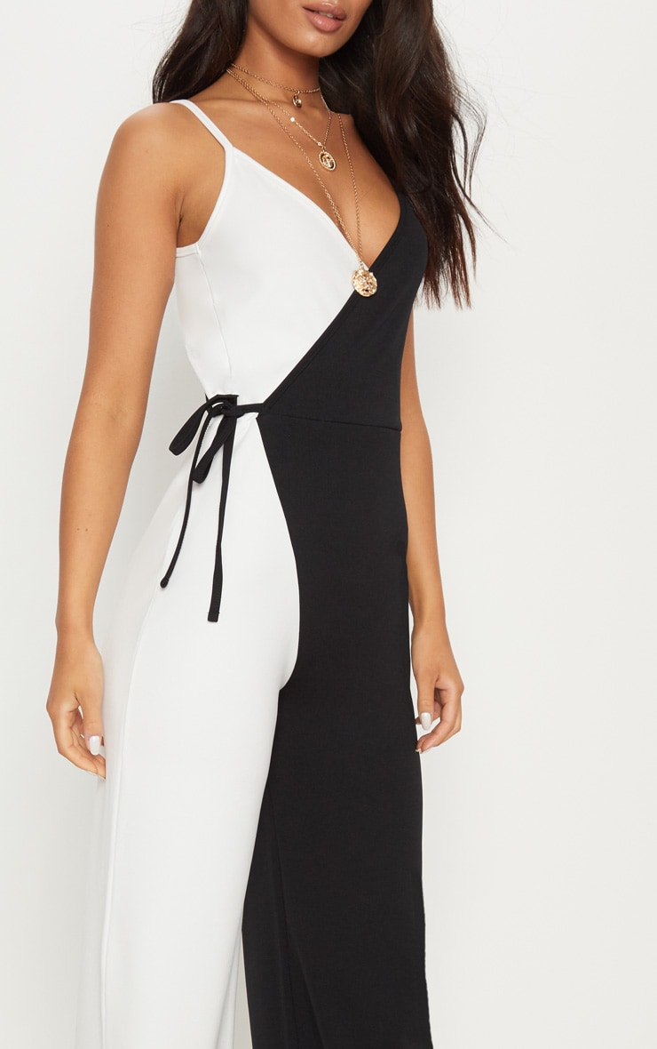 Monochrome Wrap Jumpsuit 5