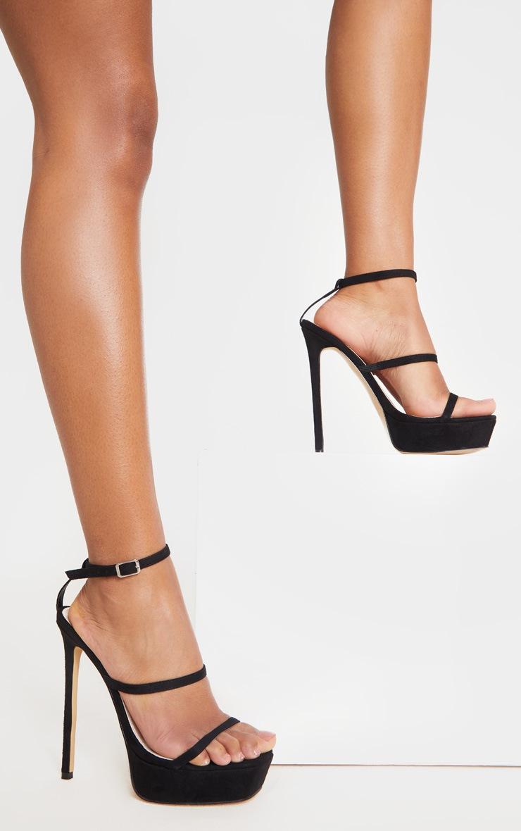 Black Platform Triple Strap Stiletto Heel 2