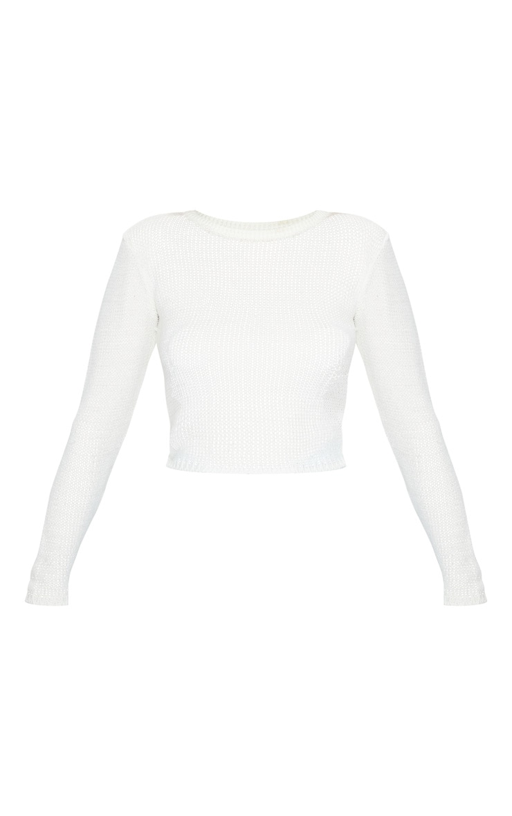 White Fine Knit Long Sleeve Top 5
