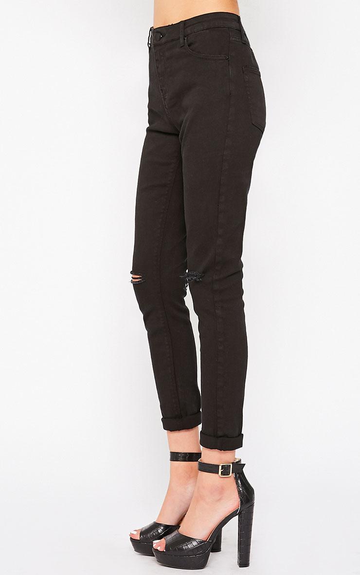 Avyanna Black High Rise Knee Rip Skinny Jeans 3