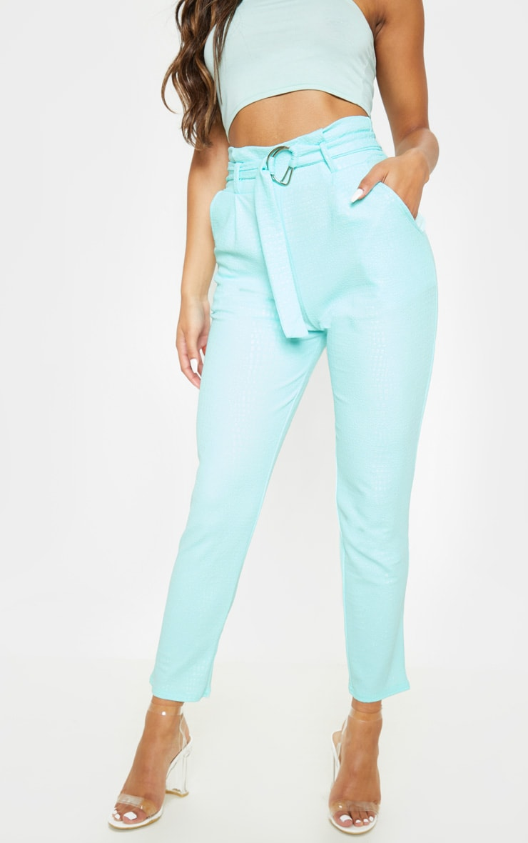 Mint Croc Print D Ring Belted Skinny Trousers 2
