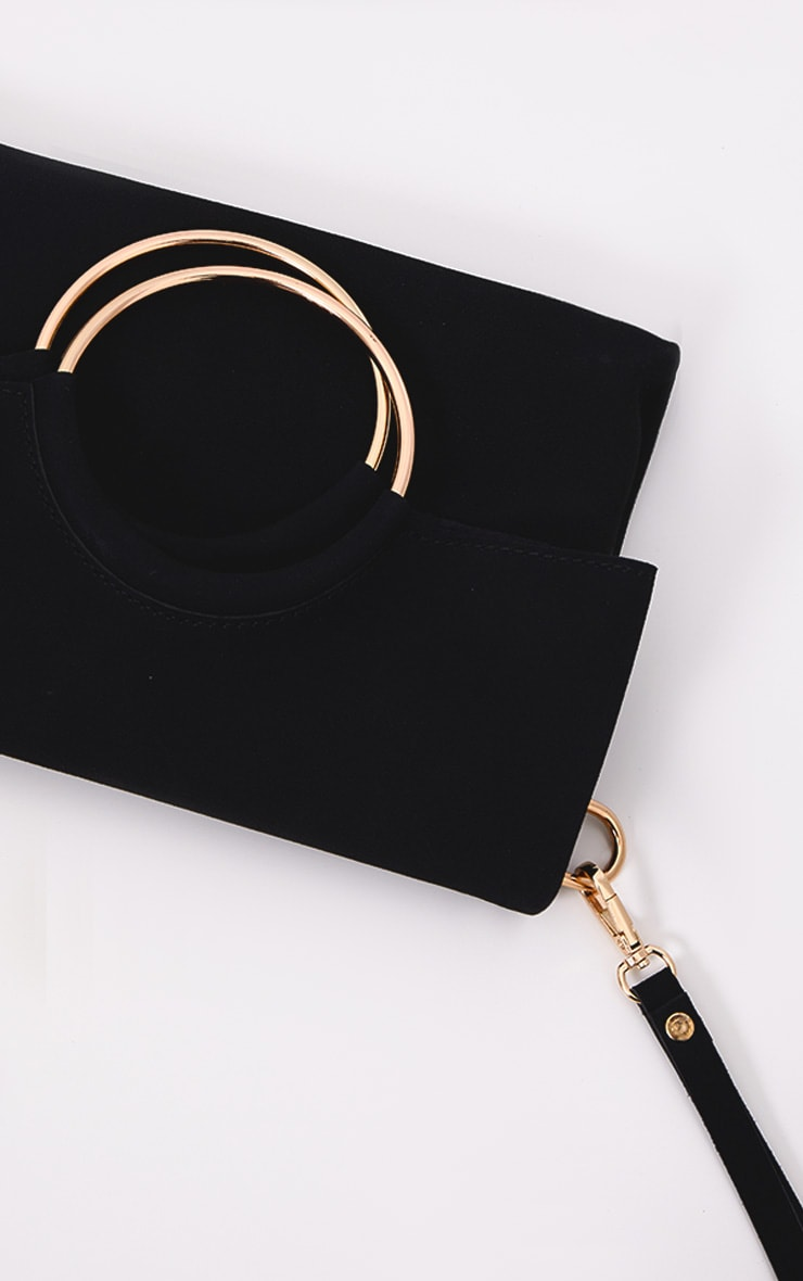 Black Ring Detail Fold Over Clutch 5