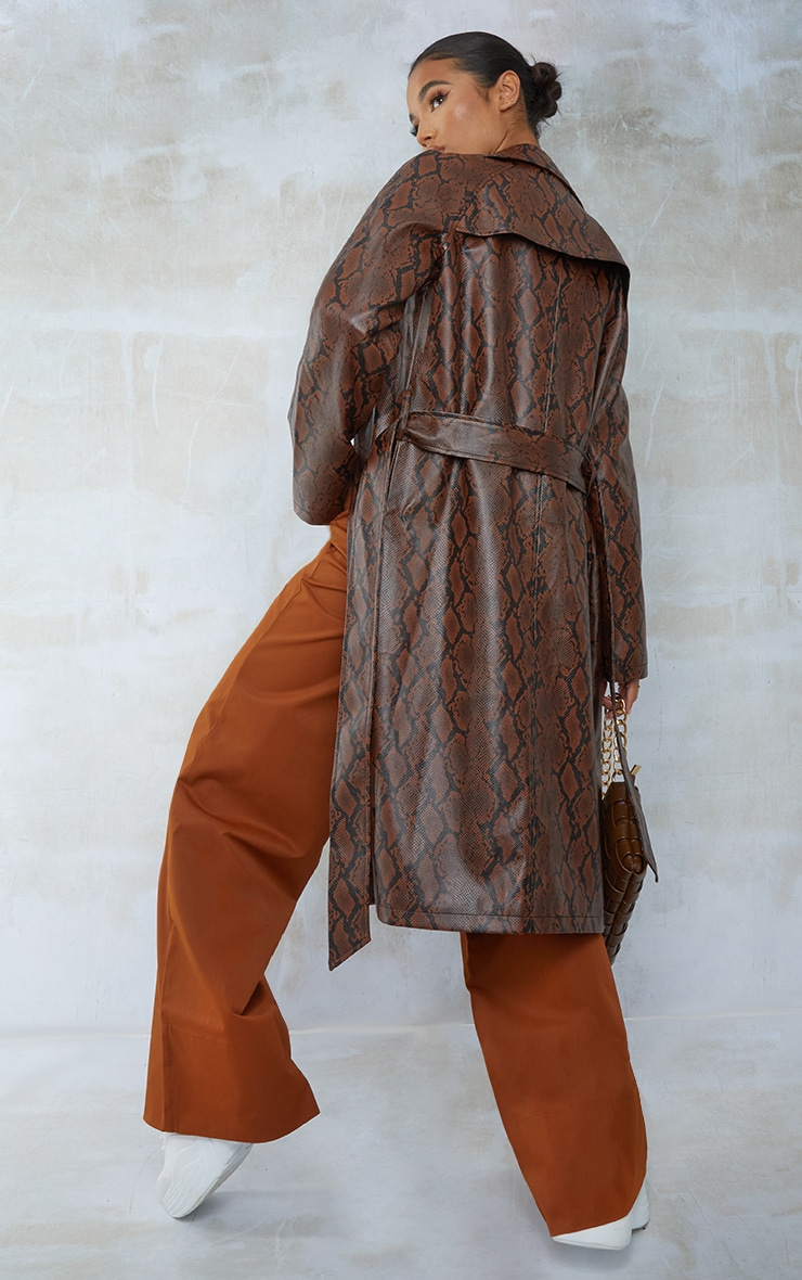 Chocolate Snake PU Belted Trench Coat 2