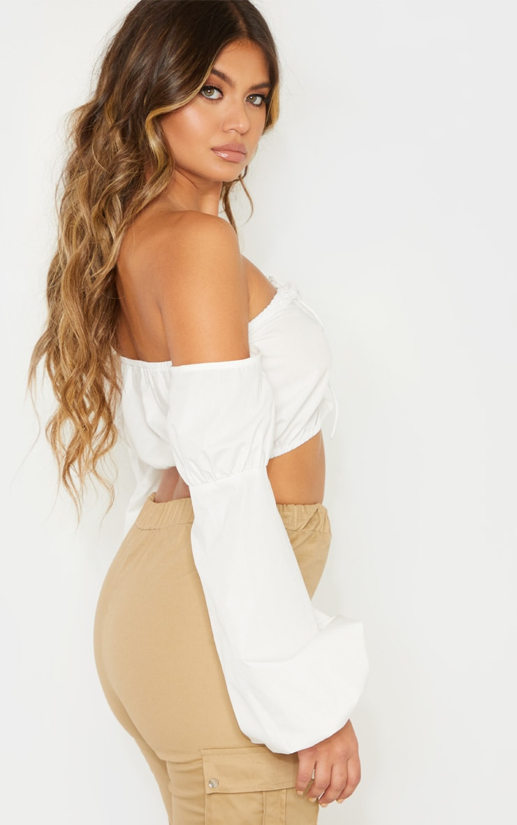 White Crochet Lace Up Bardot Long Sleeve Top 2