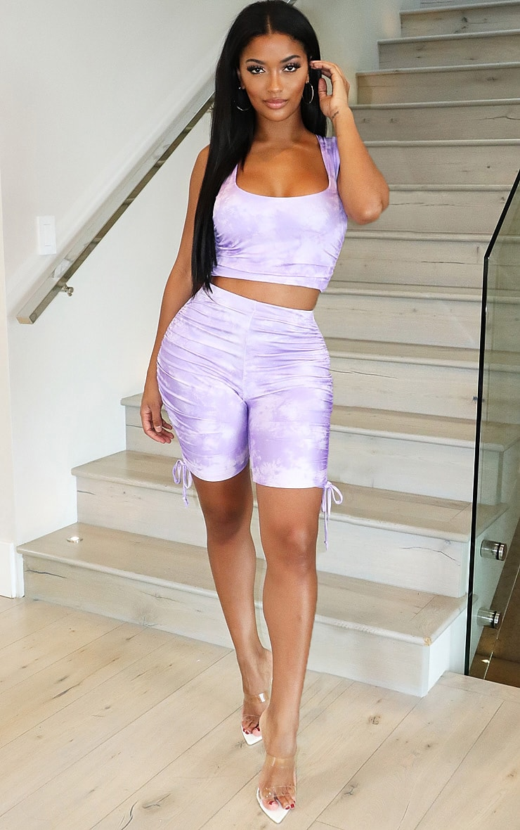 Shape Lilac Tie Dye Slinky Ruched Side Cycling Shorts 4