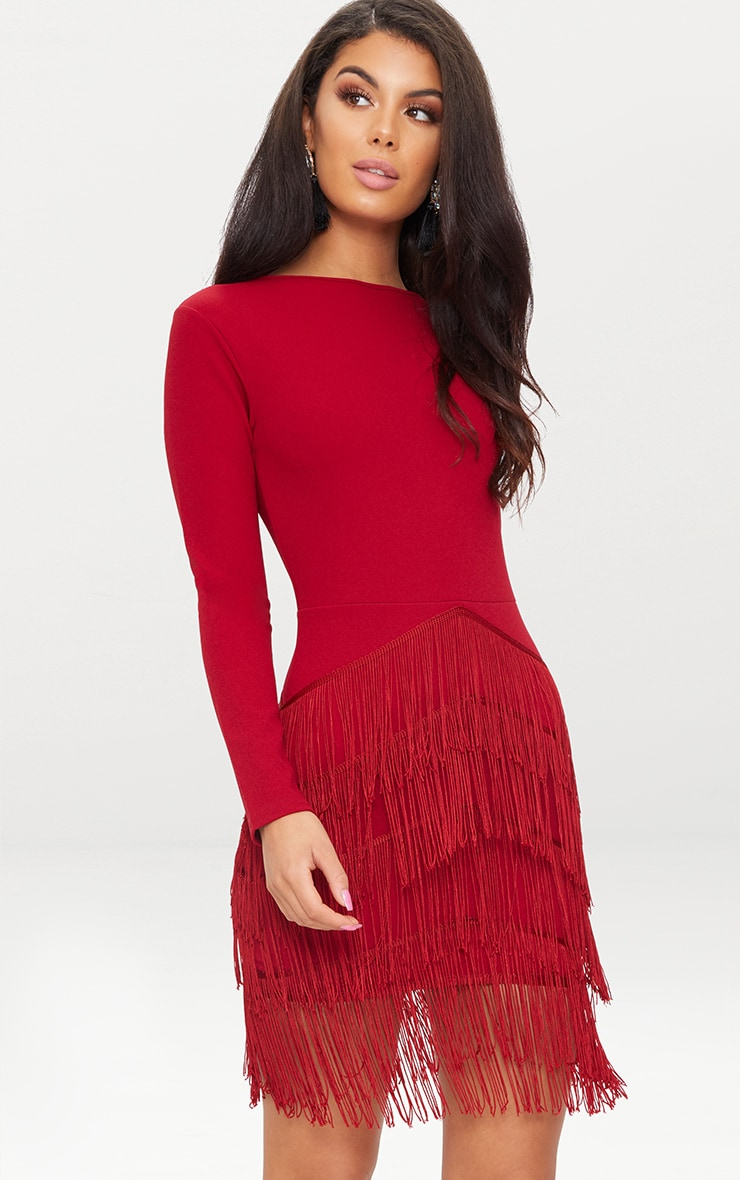 Burgundy Long Sleeve Tassel Detail Bodycon Dress 1