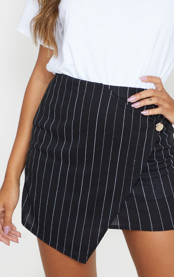 Black Pinstripe Wrap Mini Skirt 6