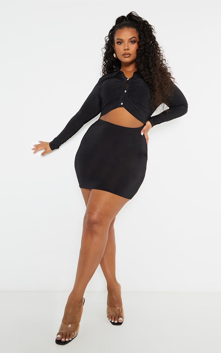 Plus Black Collared Cut Out Long Sleeve Bodycon Dress 1