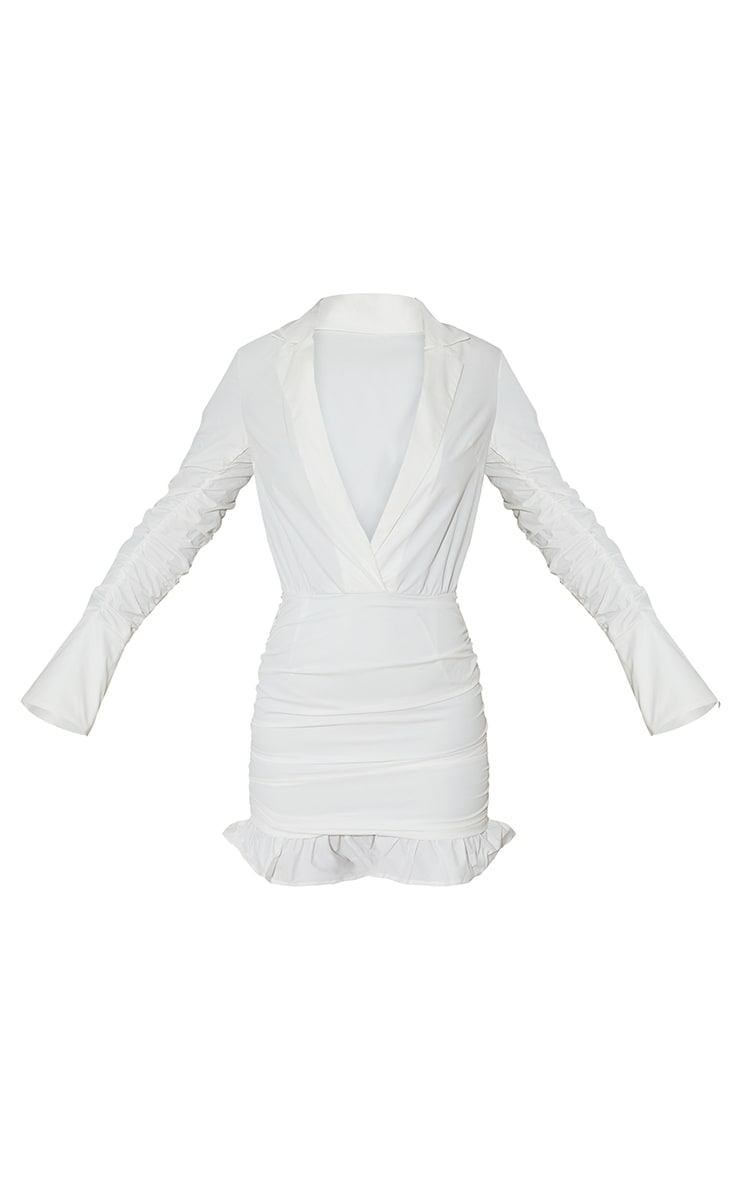 White Oversized Cuff Ruched Sleeve Plunge Shirt Style Bodycon Dress 5