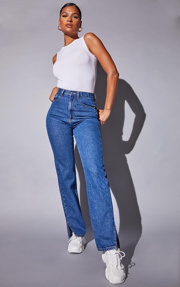 Recycled Mid Blue Wash Basic Split Hem Jeans 1