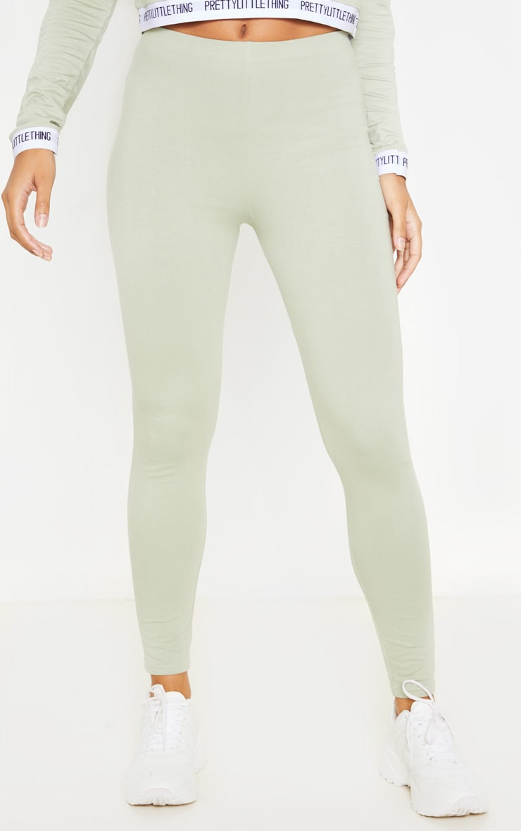 Sage Khaki High Waisted Cotton Stretch Legging 2