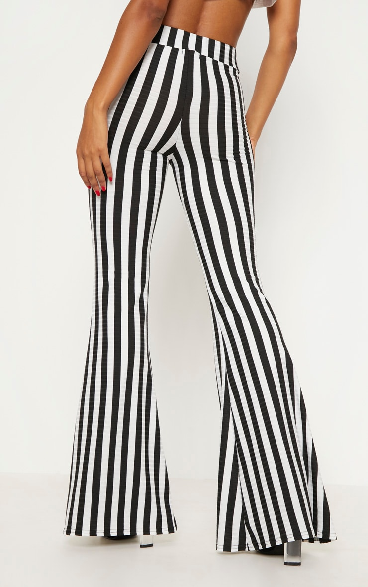 Black Rib Stripe Flare Trouser 4