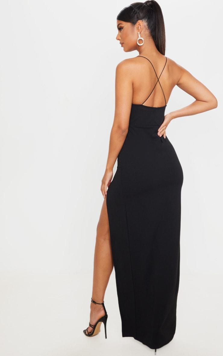 Black Straight Neck Cross Back Maxi Dress 2