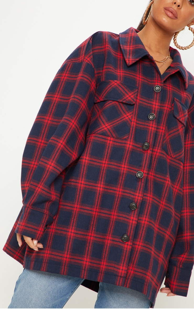 Navy Oversized Checked Jacket  5