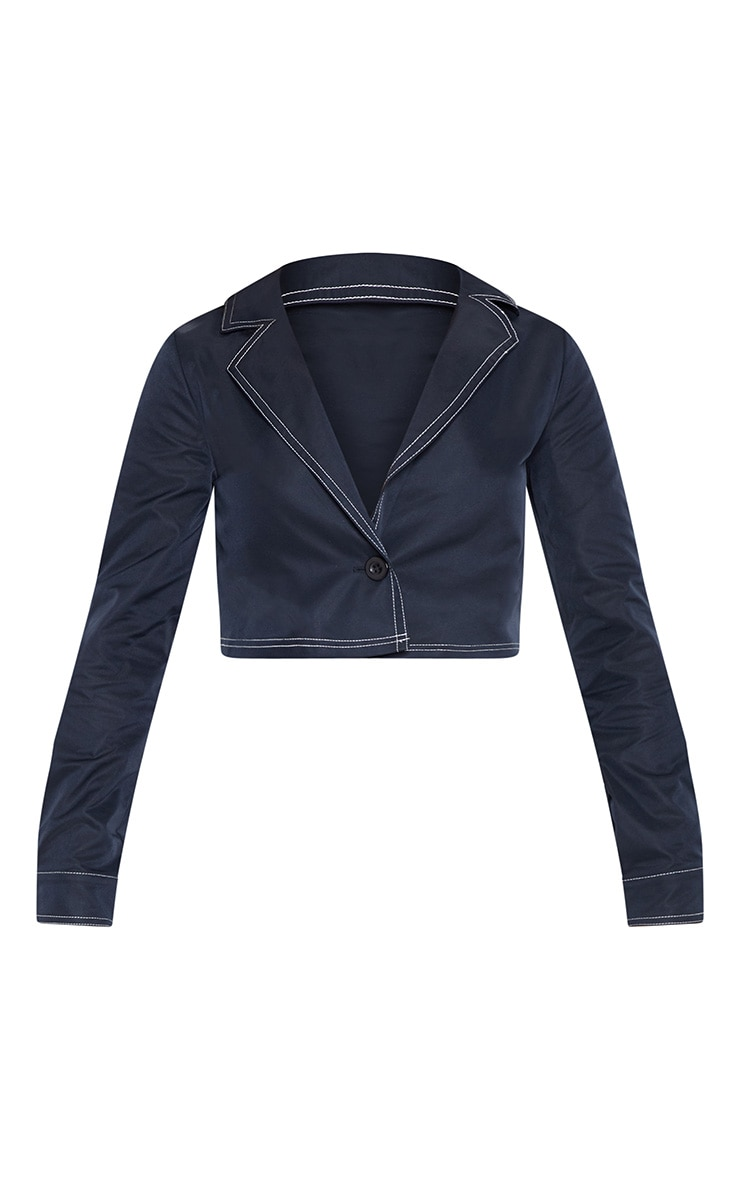 Navy Contrast Stitch Crop Jacket 3