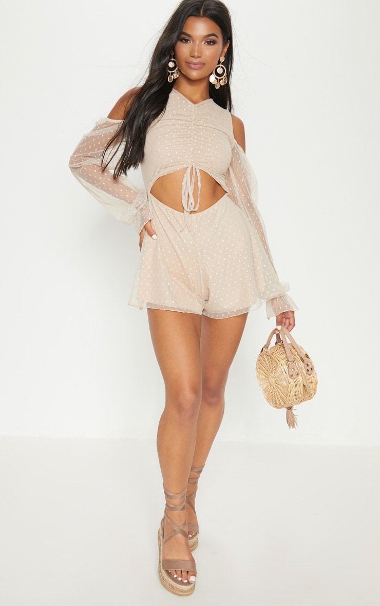 Stone Dobby Mesh Cold Shoulder Playsuit