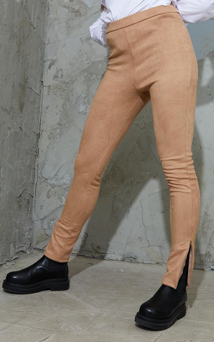 Tan Faux Suede Zip Split Hem Leggings 2