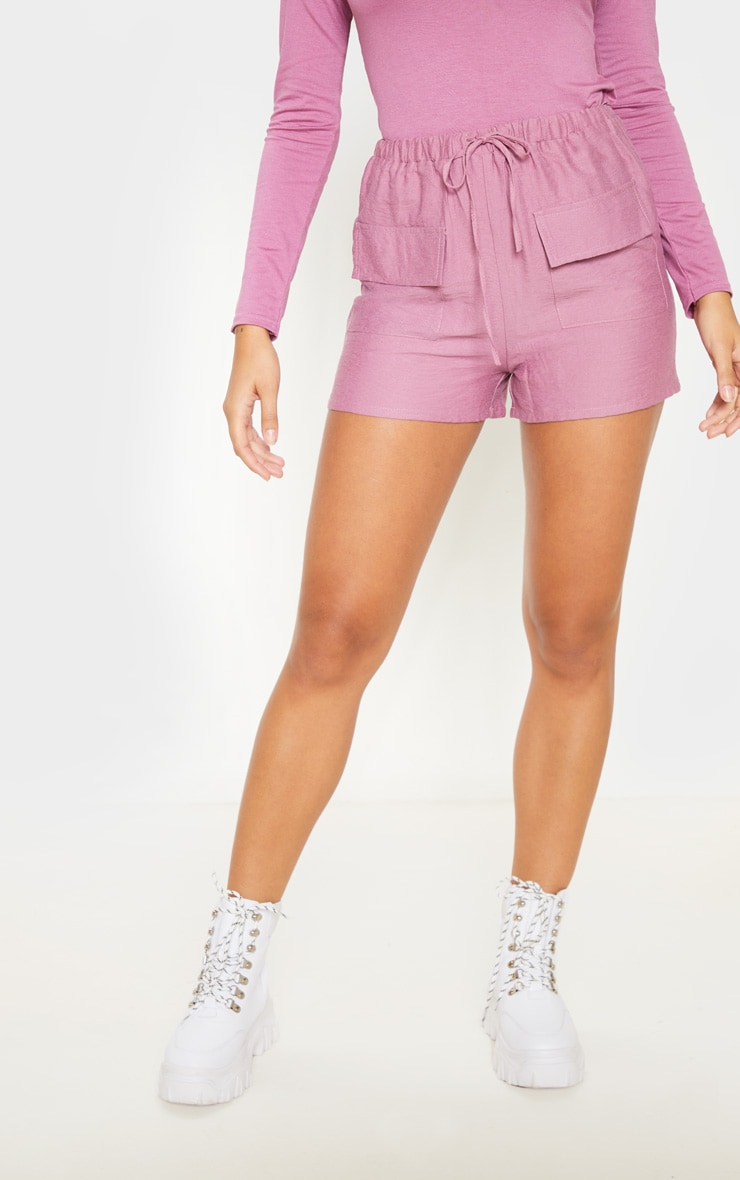 Rose Woven Pocket Front Drawstring Short  2