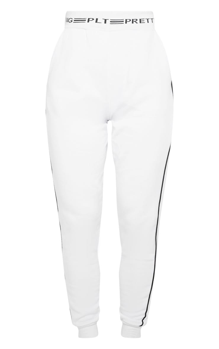 PRETTYLITTLETHING White Contrast Piping Cuff Jogger 3