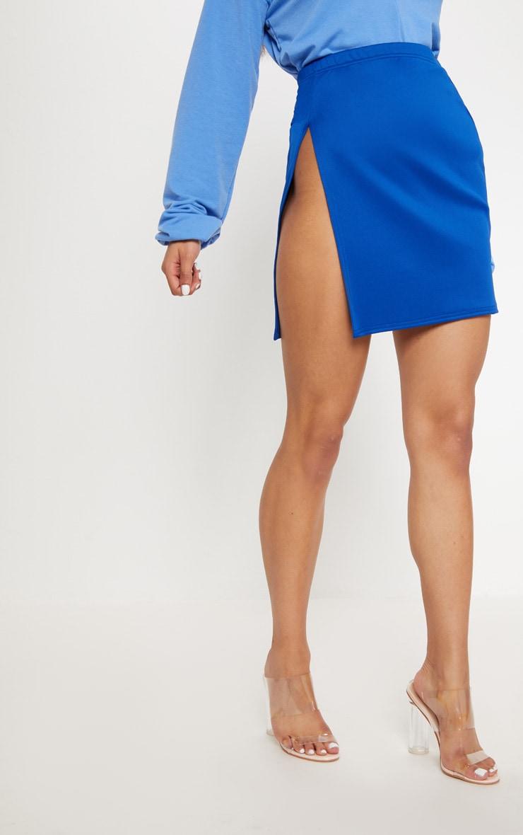 Cobalt Scuba Extreme Side Split Mini Skirt 2