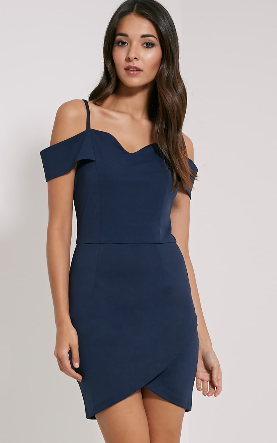 Floretta Navy Bardot Mini Dress 1
