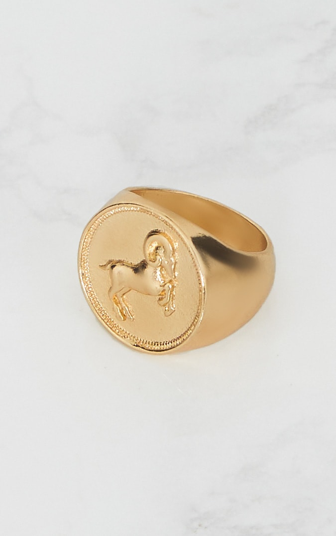 Gold Zodiac Aries Sovereign Ring 2