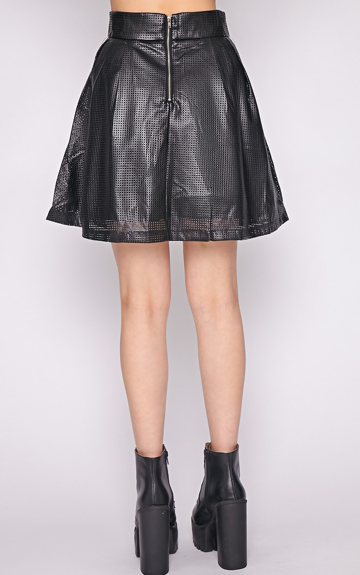 Farah Leather Perforated Skater Skirt-M 4