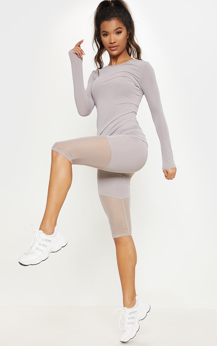 Grey Basic Long Sleeve Gym Top 4