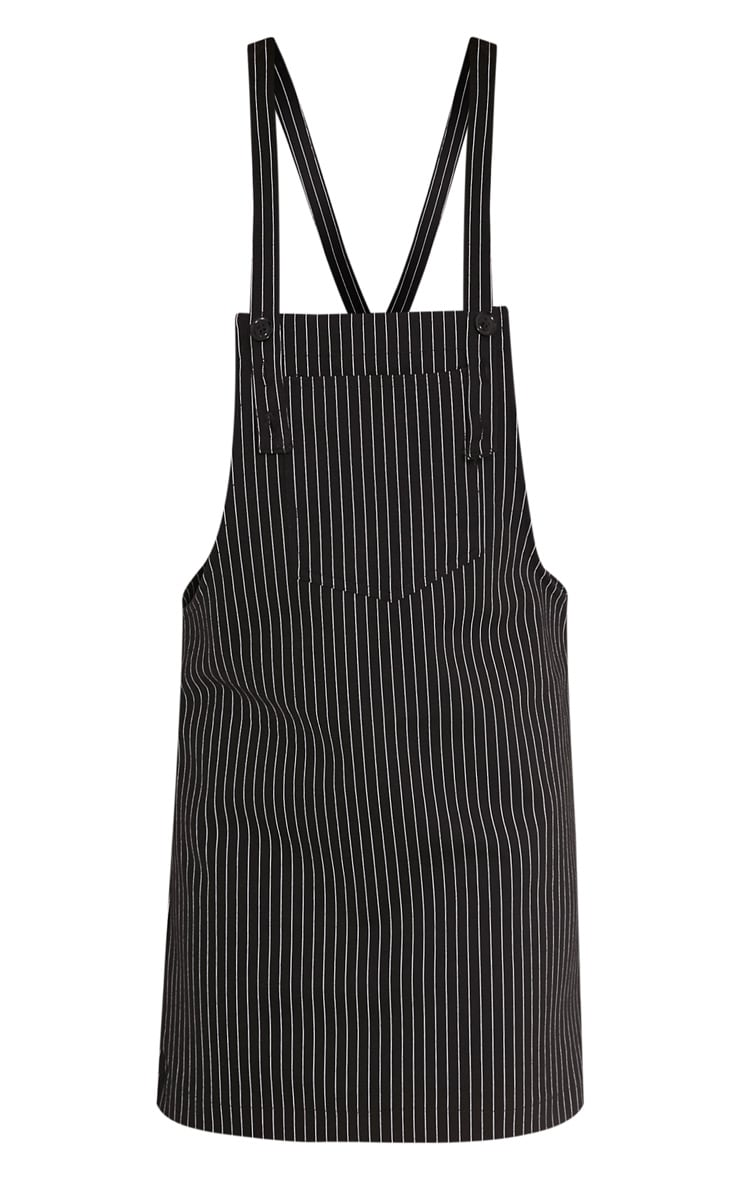 Adyna Black Knitted Pinstripe Pinafore Dress 3