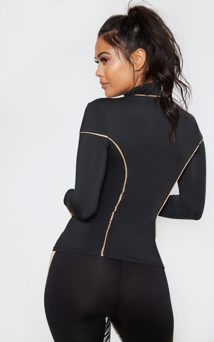 Black & Camel Long Sleeve Contrast Piping Gym Top 2