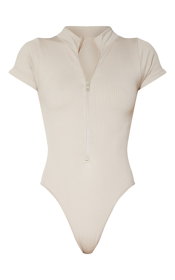 Stone Structured Contour Ribbed Zip Front Short Sleeve Bodysuit 5