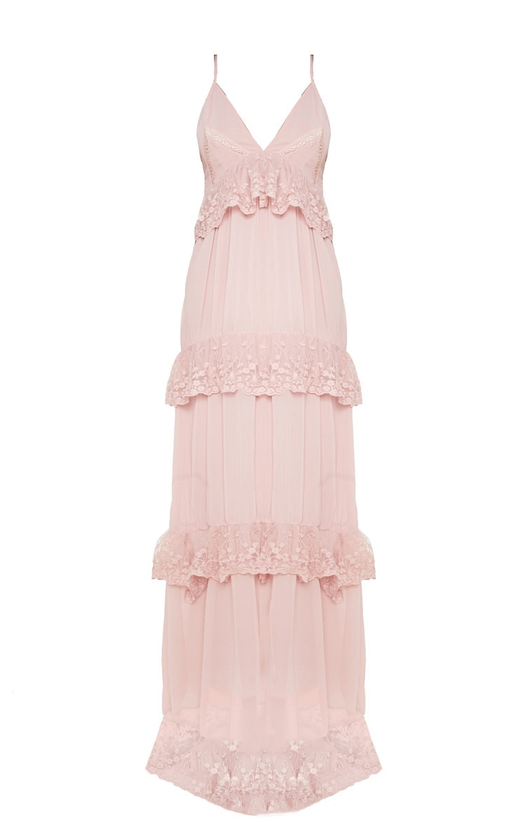 Dusty Pink Lace Frill Detail Maxi Dress 3