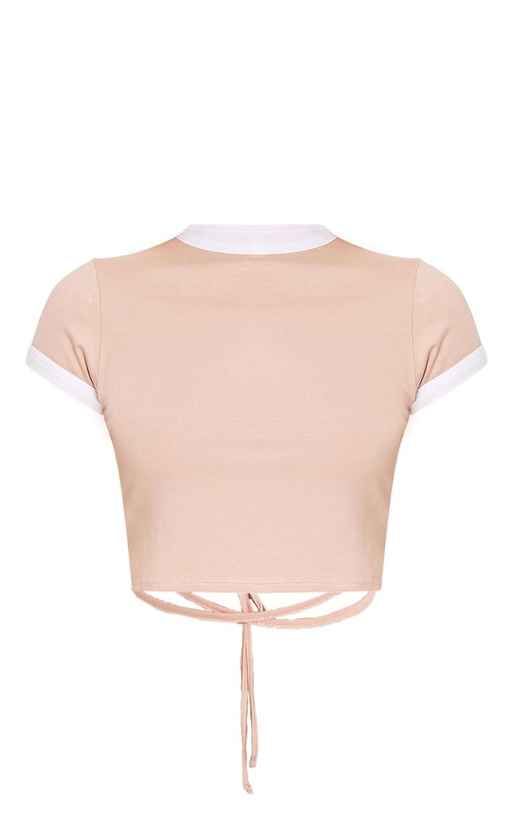 Phillipa Nude Jersey Harness Contrast Crop T Shirt 3