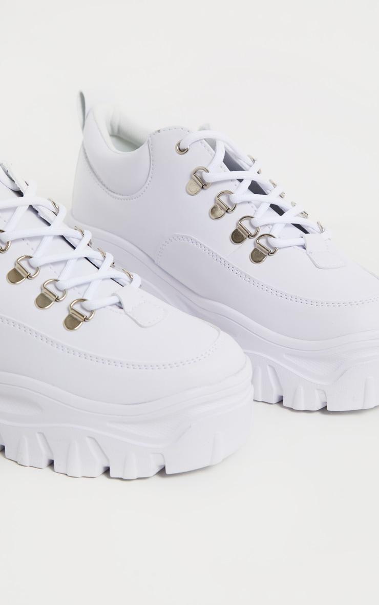 White Flatform Chunky Hiker Sneakers 3