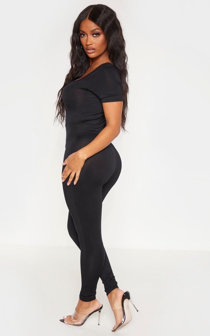 Shape Black Jersey Cap Sleeve Jumpsuit 3
