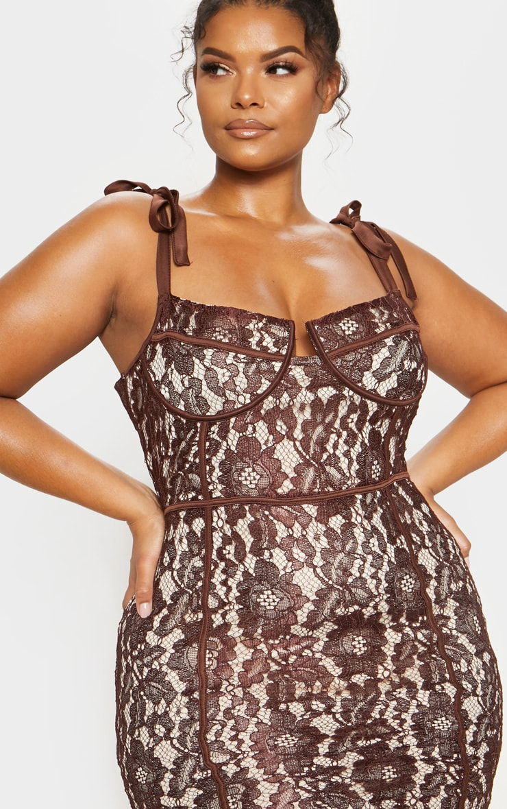 Chocolate Brown Lace Tie Strap Bodycon Dress 6