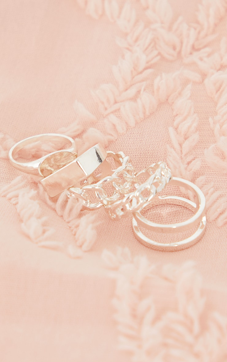 Silver Assorted Basic And Chain 5 Ring Pack 2