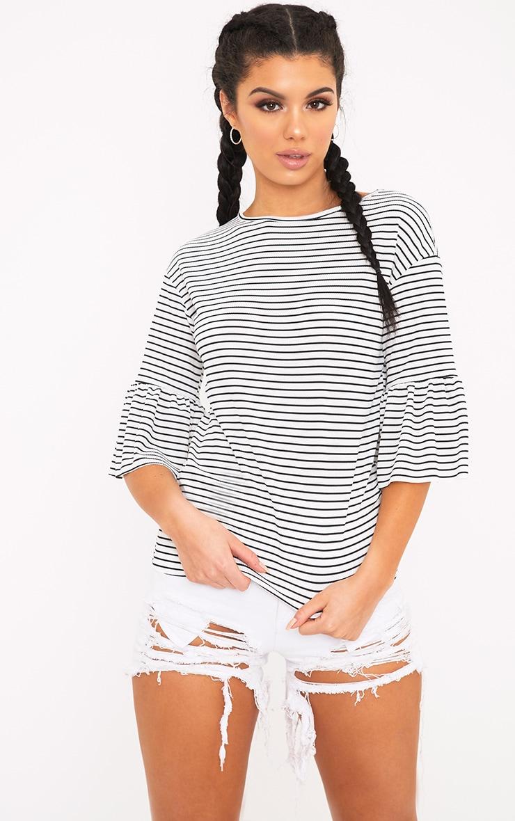 Odelle White Frill Sleeve Stripe Jersey T-Shirt 1