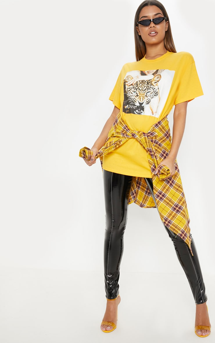 Yellow Adore Panther Oversized T shirt 4