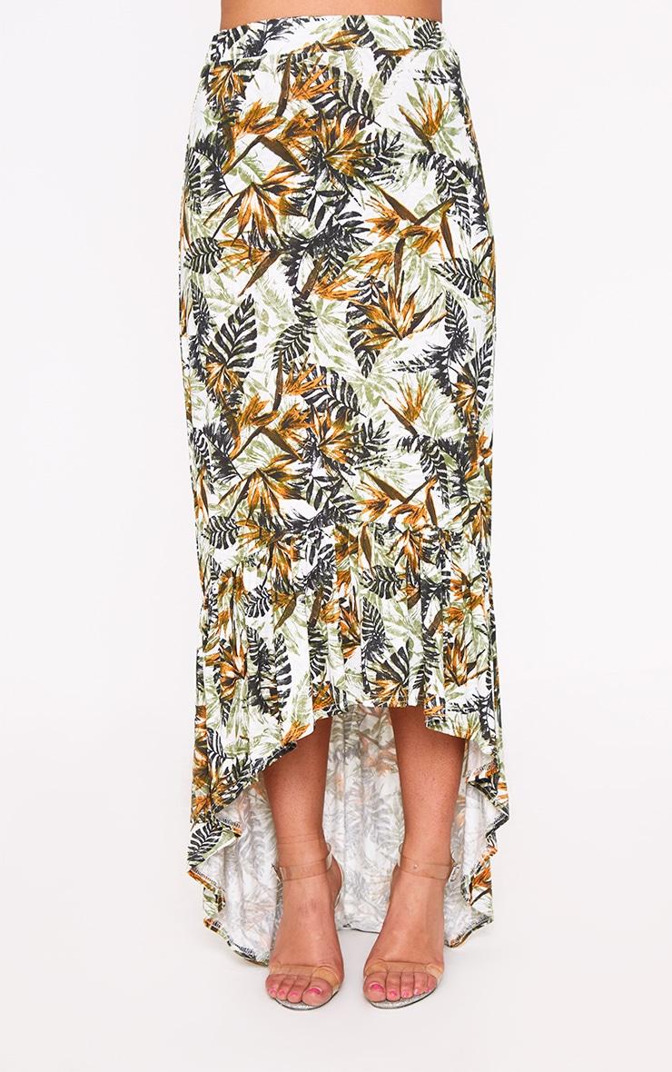 Orange Palm Print Hi Lo Hem Maxi Skirt 2