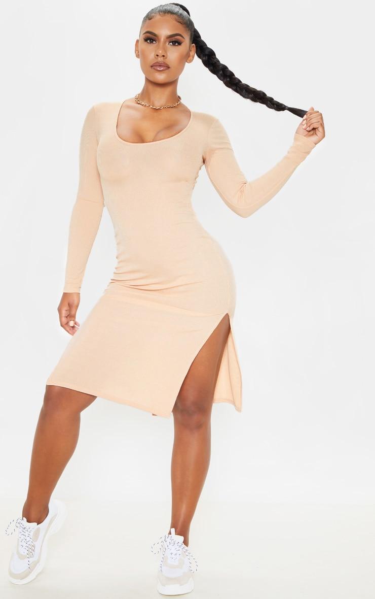 Fawn Long Sleeve Ribbed Scoop Neck Split Midi Dress 1