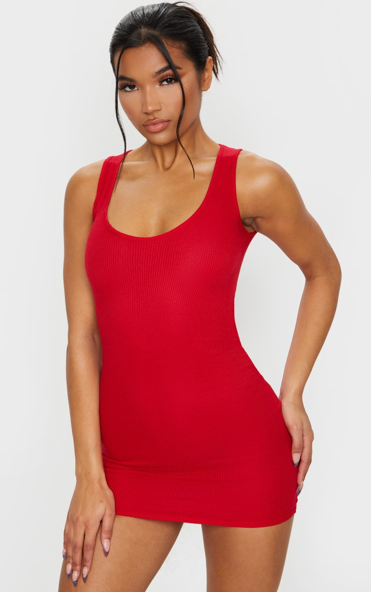 Red Ribbed Scoop Neck Bodycon Dress 3