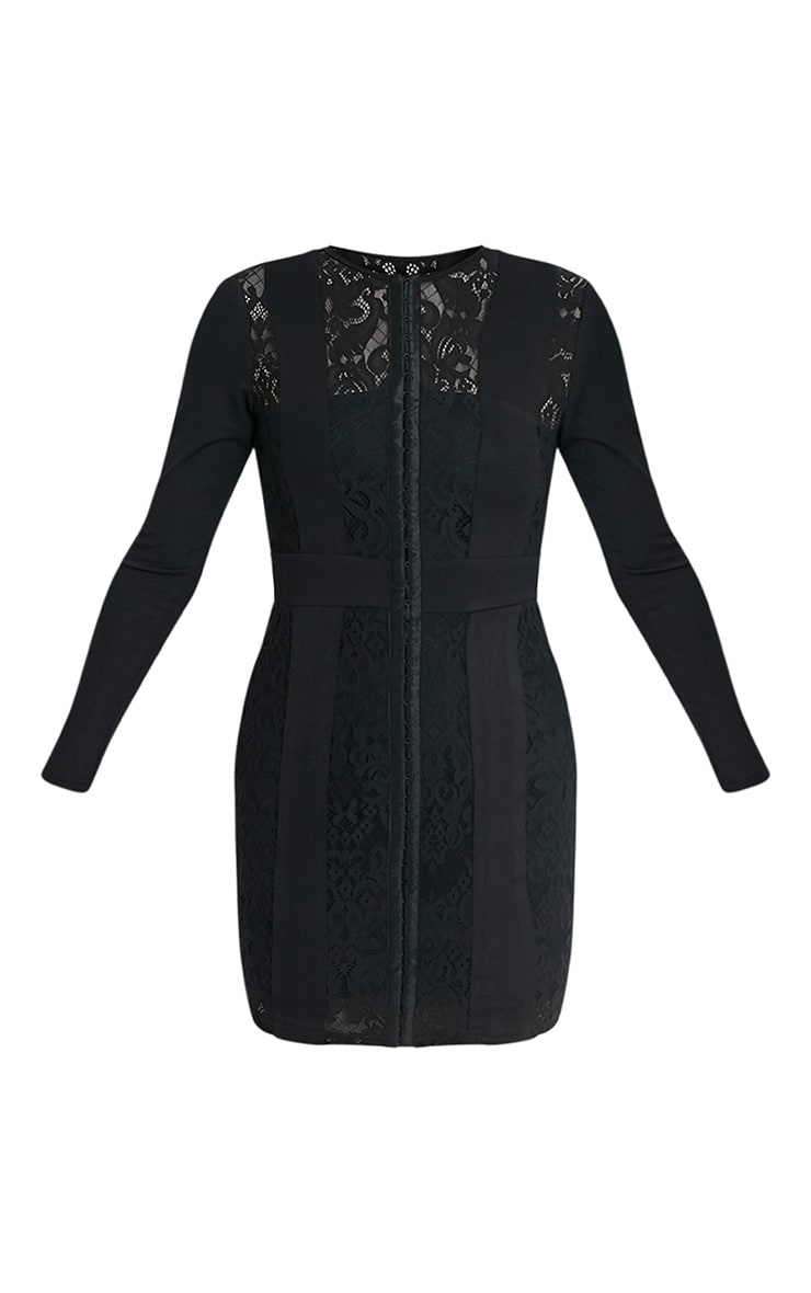 Issie Black Long Sleeve Lace Panel Bodycon Dress 3